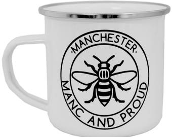 Manc and Proud Logo Enamel Mug Gift Northern Worker Bee Mosaic Northern Quarter Hipster Mancunian Madchester Manchester