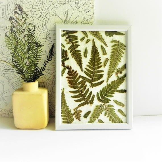 Botanical art fern framed home art plant wall decor