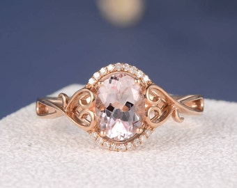 Unique Morganite Ring Morganite Engagement Ring Rose Gold Oval Cut Halo Diamond Split Shank Heart Twig Anniversary Micro Pave Promise Ring