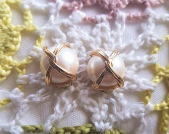 Vintage Clip on Earrings, Faux Pearl and gold tone