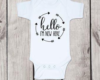 Hello Baby Bodysuit, Hello bodysuit, hello baby onesie, hello newborn onesie, hello newborn bodysuit, hello baby onesie, hello baby bodysuit
