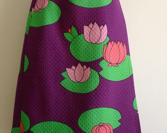 SCHERRER Boutique vibrant water lily design quilted skirt