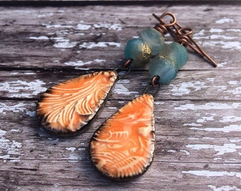 Orange Earrings, Boho Earrings, Statement Earrings, Hippie Earrings, Gypsy Earrings, Long Earrings, Summer Jewellery, Boho Jewelry