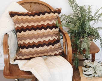 Vintage Zig Zag Brown Pillow Cover / Neutral Pillow Case / Throw Pillow Cover / 20 x 20