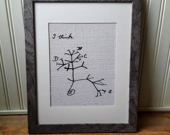 "Charles Darwin's Tree Of Life, ""I Think"", Evolutionary Tree Print On Burlap, Science Gifts, Biology Home Decor, Science Decor, Evolution"