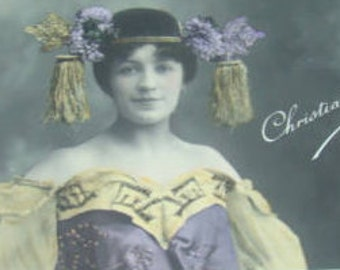 Vintage Hand Tinted French RPPC (Pretty Lady with a Hat)