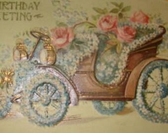 Vintage Floral Postcard (Car #1)