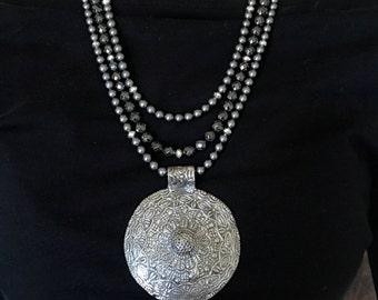 Beaded Necklace ~ Silver Medallion with Grey Beads
