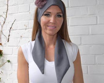 Mauve Polyester Perspective Grey Centerpeice Scarf with Mauve Clip-on Flower for Women and Teens All Seasons