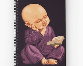 Book art print on cover - spiral for thoughts quotes reading book - painting child monk meditation book