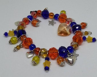 Orange, Blue and Yellow  Sailor Venus Charm Bracelet