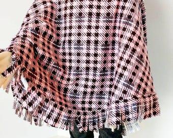 Pink/Brown Hoodie Poncho