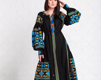 Black Vyshyvanka Embroidered Dress Linen Kaftan Mexican Dress Ukrainian Embroidered Dress Boho Style Vyshyvanka Ethnic Ukrainian Clothing FR
