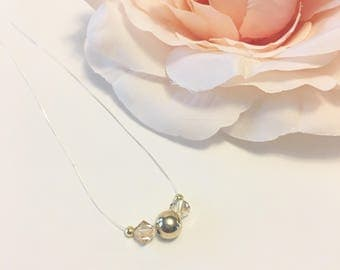 Gold Bead Necklace, Floating Necklace, Invisible Necklace, Crystal Pendant Necklace, Gold Necklace, Crystal Necklace, Crystal Clear Pendant