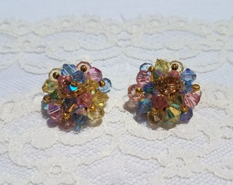 Pastel Cluster Aurora Borealis Plastic Bead and Intricate Gold Filigree and Wire Clip On Earrings- Gold Tone
