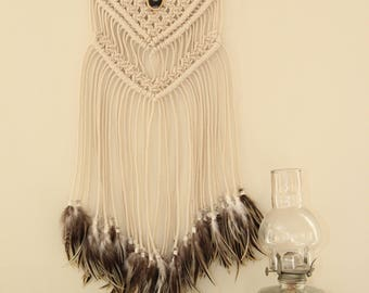 Handmade Macrame Wall Hanging with Feathers and Driftwood