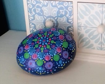 Hand painted, mandala stone, blue with multicolor dot design, beach pebble, painted rock, paperweight, bookend, Cornish gift ,  handmade