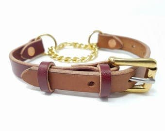 Leather Chain Martingale Dog Collar