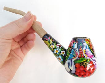 Smoking pipe, Handpainted pipe, Tobacco pipe, Peace-pipe, Ceremonial pipe, Wooden pipe, Carved pipe, Bird pipe, Dove pipe, Carnation pipe