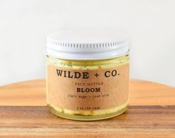 BLOOM organic face moisturizer, vegan mositurizer, organic moisturizer, rosehip, kokum butter, mango butter, shea butter