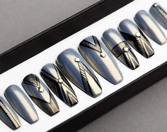 Grey Chrome Abstract Press On Nails | Chrome Prism Effect | Hand painted Nail Art | Fake Nails | False Nails