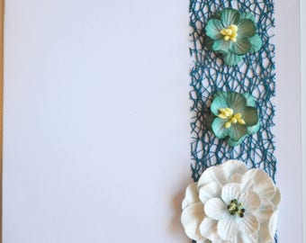 Teal lace and flower card