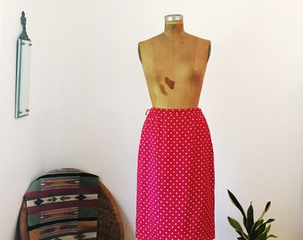 Vintage 1950's Valentino Couture Silk Red and White Polka Dot Straight Pencil Skirt Red White Womens Retro
