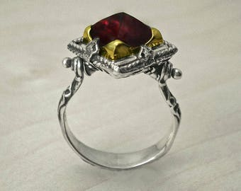 Vintage sterling silver ring,Antique ring,Handmade unique ring,Boho jewelry,boho ring, silver ring,vintage Garnet ring,18k gold silver ring