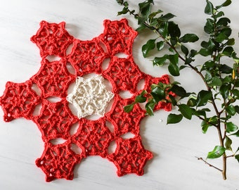 PATTERN Christmas Star - Crochet Pattern, Christmas Crochet Pattern, Easy, Photo and Written Instructions, Christmas Table Decoration, Doily