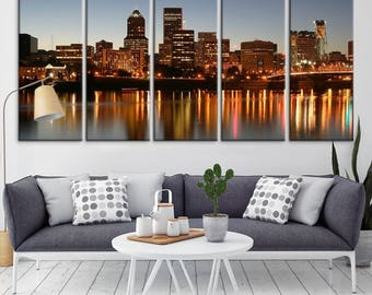 Portland Oregon Wall Art Print For Home Decor Skyline Canvas Office Decoration