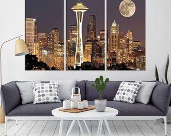 Seattle Canvas Print, Seattle Wall Art Print, Seattle Skyline Canvas Print, Seattle California Wall Art Canvas Print,
