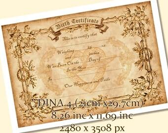 Birth certificate etsy printable birth certificate print newborn gift baby birth print wall decor vintage yadclub Choice Image