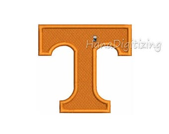 Tennessee T Logo Machine Embroidery Design 4 Sizes