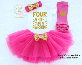 4th Birthday Girl Outfit, Fourth Birthday Outfit Girl, Fourth Birthday Outfit, Toddler's 4th Birthday Shirt, 4th Birthday Shirt  BFF3