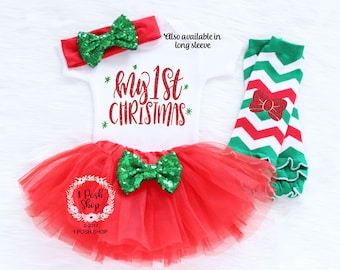 Baby First Christmas Outfit, Baby First Christmas Bodysuit, Baby Christmas Tutu, My First Christmas, Baby First Christmas Outfit Girl HC13