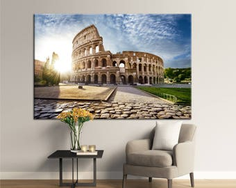 Colosseum in Rome and morning sun, Italy photoprint,Wall Art Multi Panel Rome Large Canvas Print Ready to Hang.Multi-Sized Canvas print.