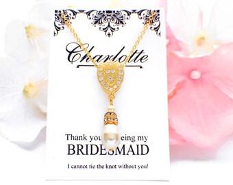 Swarovski pearl drop necklace, Gold bridesmaid necklace, pearl bridesmaid jewelry, simple wedding necklace, bridesmaid gift, pearl necklace