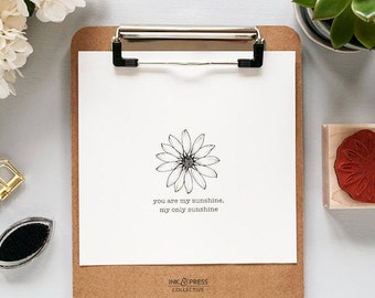 Daisy Flower Rubber Stamp - Flower Stamp - Floral Stamp - Daisy Stamp - Daisy Rubber Stamp - Hand Drawn