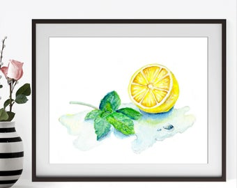 Watercolor Lemon Art, Watercolor Lemon Print, Watercolor Fruit Poster, Fruit Print, Kitchen Decor, Watercolor Kitchen Art, Kitchen Print