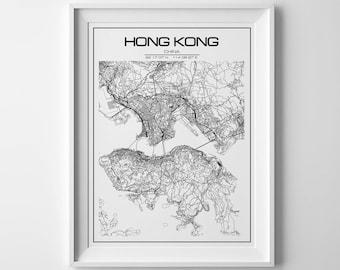Hong Kong city map,Hong Kong print, Hong Kong poster, China map, China poster, map of hong kong, street map, printable map, Hong Kong city