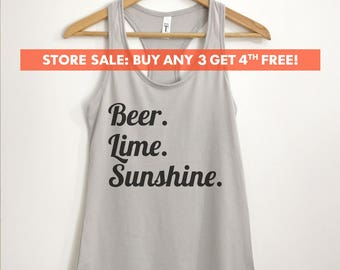 Beer Lime Sunshine Tank Top, Ladies Vacation Tank, Cute Beach Tank, Gift For Her, Vacay