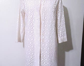 Vintage White Lacy Duster