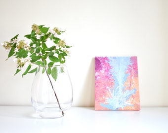 Abstract painting 'River' ORIGINAL, acrylic on canvas, free shipping, pink, pink, Orange-peach, blue, bright, colorful
