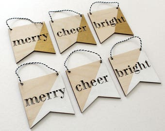 merry, cheer and bright wooden christmas ornaments, set of 3 • white or gold • holiday decor • minimalist christmas • stocking stuffers