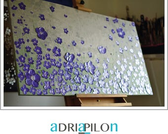 SALE  large abstract painting on canvas original 48''x''24 art texture flowers purple 3d art decoraction modern
