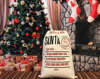 Personalized Toys For Santa Give Back Sack, Canvas Santa Sack, santa sack, personalized, christmas bag, santa bag, canvas bag, canvas