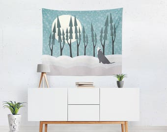Wolf Month Wall Tapestry, Winter Tapestry, Wolf Tapestry, Indoor Tapestry, Outdoor Tapestry, Nursery Tapestry, Animal Tapestry, Wall Decor