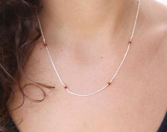 Ruby Necklace - Sterling Silver Chocker - Beaded Necklace - Genuine Red Ruby - Delicate Necklace-  Ruby Dainty Necklace - Chain Necklace