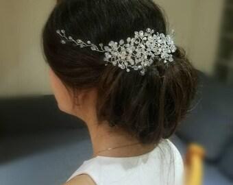 Bridal  Pearl Headpiece ,Wedding Headpiece, Bridal Crystal Hair vine, Statement Headpiece,Wedding Bridal Hair Vine.