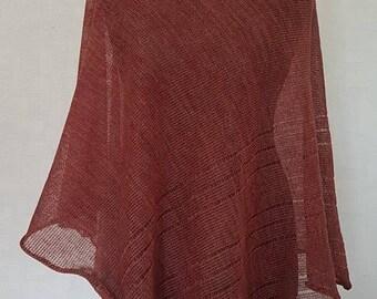 Red brown poncho, linen poncho, summer poncho, knit poncho, knit cape, linen cape, red cape, linen shawl, red shawl, linen shawl